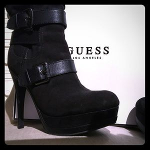 """Guess Boots Size 7 1/2, Black 5"""" Heel"""